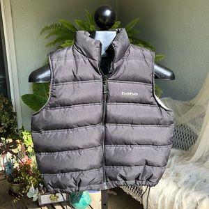Bebe down zip up vest w adjustable waist, Sz L